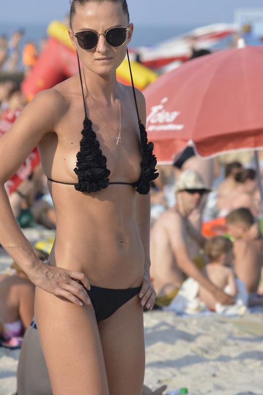 skinny lady in black bikini