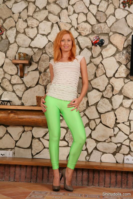 lovely shiny doll in green leggings